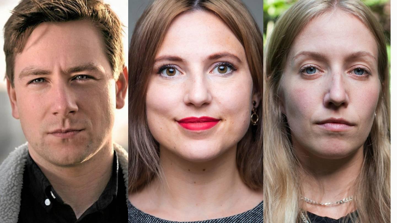 Andreas Sjalg Unneland (SV), Sofie Marhaug (Rødt) og Hege Skarrud, Leder i Attac Norge.