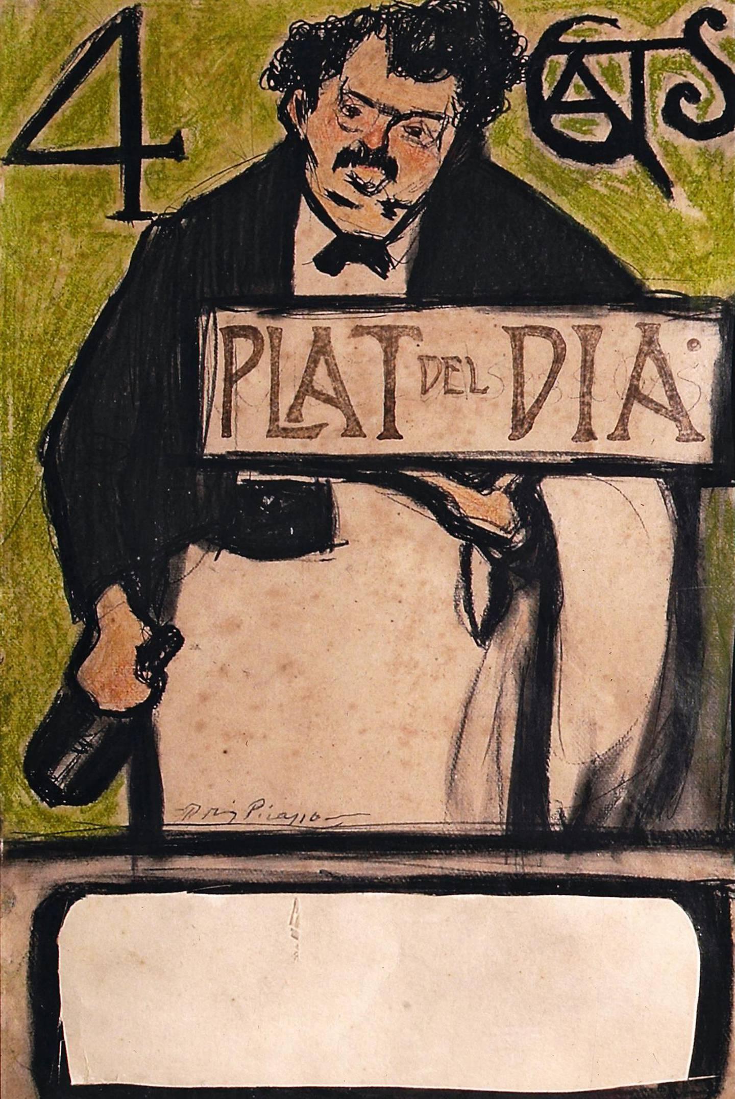 Dagens rett på Quatre Gats ble proklamert på dette skiltet som Picasso malte for restauranten i 1899.