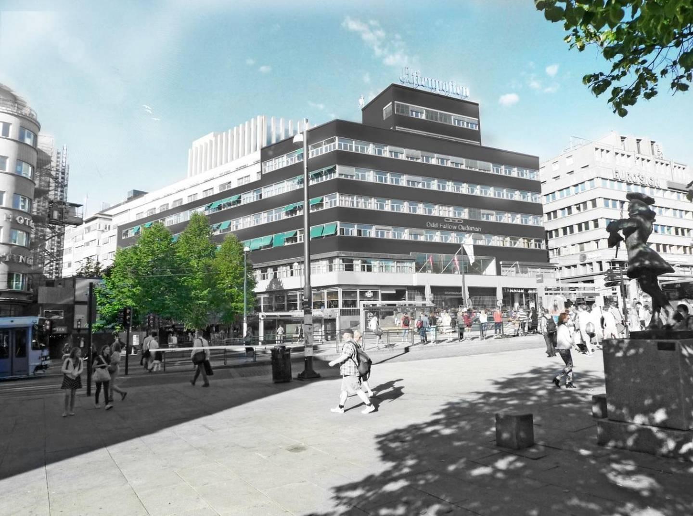 SÅNN? Denne illustrasjonen viser hvordan arkitektene ser for seg fasaden sett fra Johanne Dybwads plass, rett foran Nasjonalteatret.
