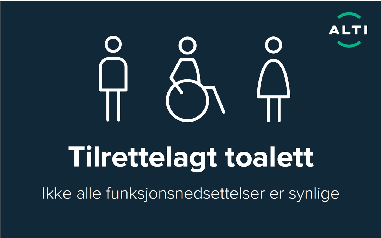 Slik ser det nye skiltet for handikaptoaletter som skal taes i bruk av Alti