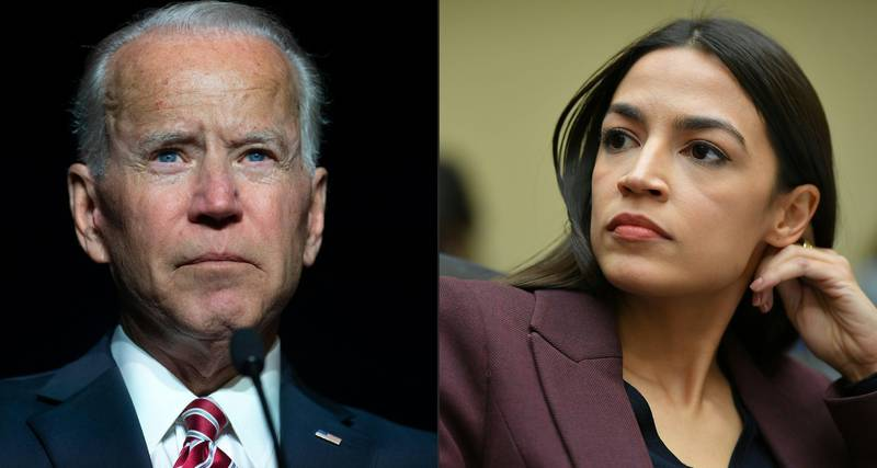 """(COMBO) This combination of pictures created on May 14, 2019 shows, A file photo taken on March 16, 2019, former US vice president Joe Biden speaks during the First State Democratic Dinner in Dover, Delaware. and A file photo taken on February 27, 2019 US Congresswoman Alexandria Ocasio-Cortez (D-NY) listens as Michael Cohen, attorney for President Trump, testifies before the House Oversight and Reform Committee in the Rayburn House Office Building on Capitol Hill in Washington, DC. - Democratic 2020 frontrunner Joe Biden was forced into defending his environmental record on May 14, 2019 after a popular progressive in Congress demanded presidential hopefuls abandon a """"middle-of-the-road"""" approach to combatting climate change. """"You never heard me say middle of the road. I've never been middle of the road on the environment,"""" the former vice president, 76, said at a campaign stop in New Hampshire, a day after first-term congresswoman Alexandria Ocasio-Cortez implicitly rebuked Biden over the issue. (Photos by SAUL LOEB and MANDEL NGAN / AFP)"""