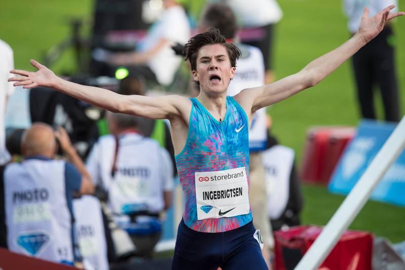 Jakob Ingebrigtsen var storfavoritt på 1500 meteren, men gikk i bakken ut på den siste runden og endte på 8. plass. Senere på dagen løp han inn til gull på 5000 meteren. Foto: Audun Braastad / NTB scanpix
