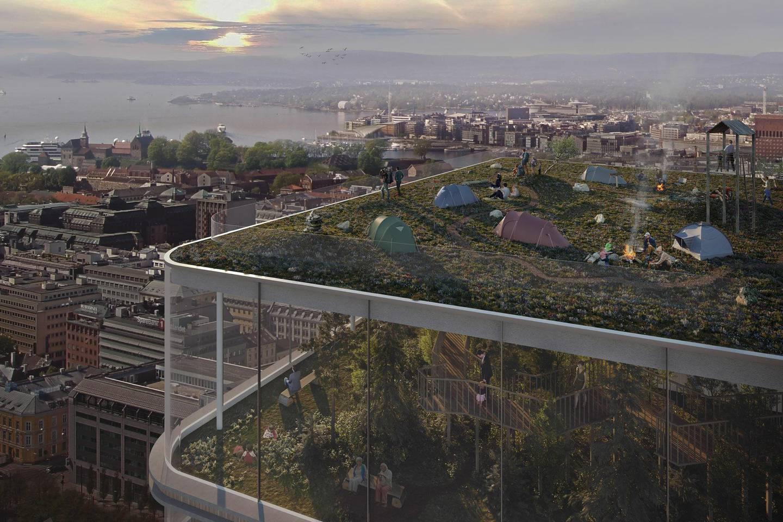 Slik kan det bli på toppen av Norges høyeste hus, hvis KLP Eiendom og Norsk Friluftsliv får det som de vil. Illustrasjon:
