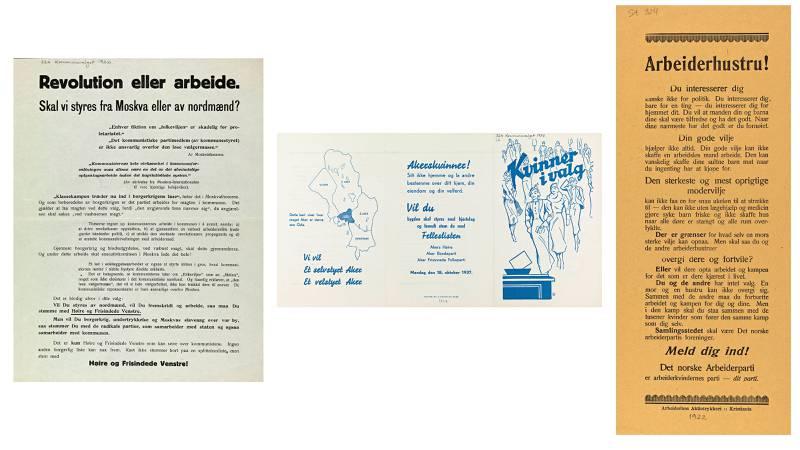 Til venstre: Harde toner i 1920-tallets valgkamp. Høyresiden kunne spille på Arbederpartiets medlemskap i Komintern. I midten: Høyres appel til kvinnene: Politikk er viktig! Til høyre: Arbeiderpartiets inntrengende appell til kvinne, ikke mange år etter at de fikk stemmerett i 1913. FOTO: Nasjonalbiblioteket, plakatsamlingen