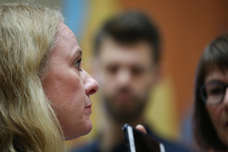 Oslo 20191120.  Arbeids- og sosialminister Anniken Hauglie (H)  I Vandrehallen etter  Stortingets spørretime onsdag. Foto: Ørn E. Borgen / NTB scanpix