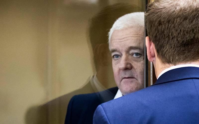 MOSKVA, RUSSLAND 20190416. Frode Berg og hans forsvarer Ilja Novikov ved byretten i Moskva der dommen leses opp tirsdag Foto: Berit Roald / NTB scanpix