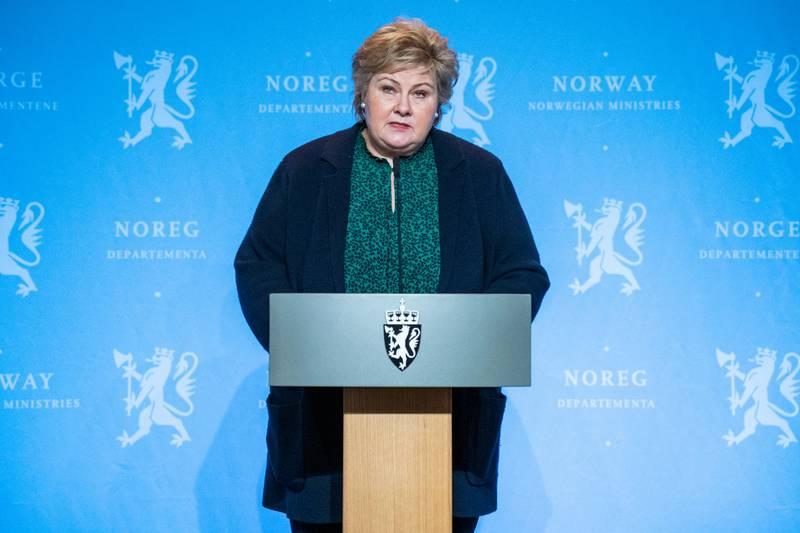 Oslo 20210127.  Statsminister Erna Solberg (H) holder pressekonferanse om korona og innreise til Norge i Marmorhallen i Oslo onsdag. Foto: Håkon Mosvold Larsen / NTB