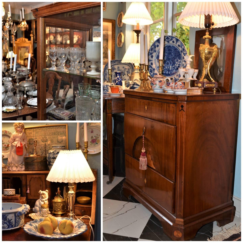 Den lille butikken på drøye 30 kvadratmeter er fylt med spesielt utvalgte antikviteter. Sjekk også gulvet, som er malt og marmorert med patina.