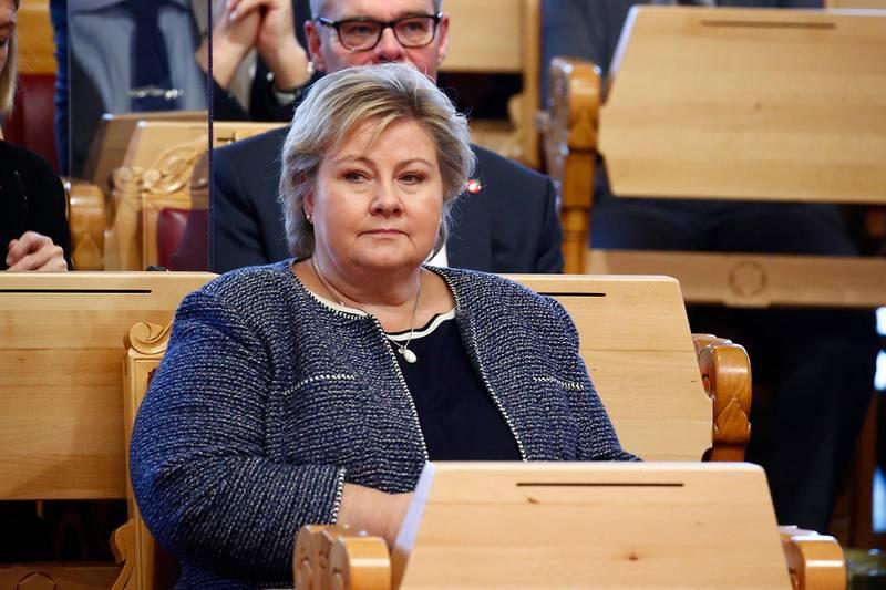 Oslo 20201005. Statsminister Erna Solberg under trontaledebatten i Stortinget.Foto: Terje Pedersen / NTB