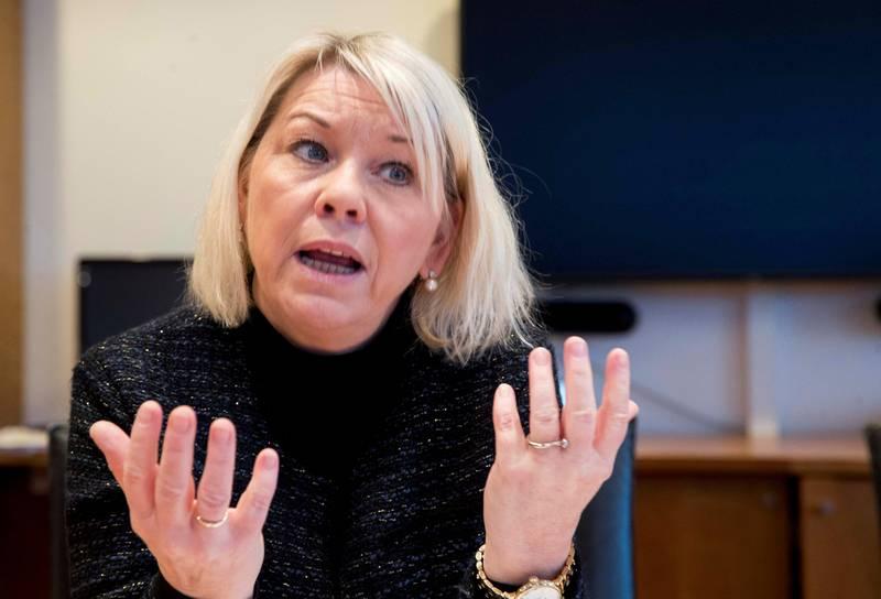 Oslo  20190124. Kommunalminister Monica Mæland (H) legger fram tall på statsansatte. Foto: Terje Pedersen / NTB scanpix