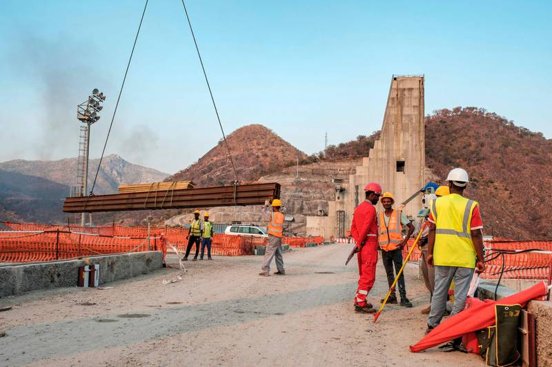 (FILES) This file photo taken on December 26, 2019 shows a general view of the construction works at the Grand Ethiopian Renaissance Dam (GERD), near Guba in Ethiopia. - Sudan has proposed upgrading negotiations with Egypt and Ethiopia on a Nile mega-dam to prime ministerial level after the latest round of talks failed to break the deadlock. (Photo by EDUARDO SOTERAS / AFP)
