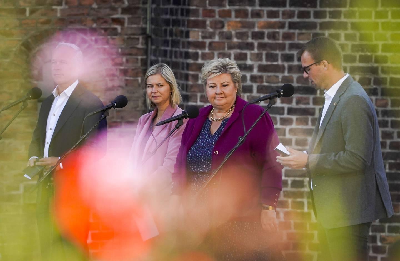 Kunnskaps- og integreringsminister Guri Melby (V) går til valg på en regjering med   Erna Solberg (H) og Kjell Ingolf Ropstad (KrF).
