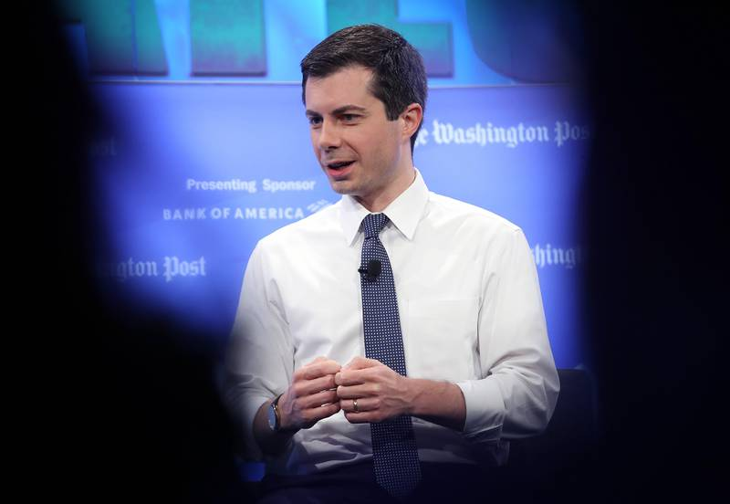 WASHINGTON, DC - MAY 23: Democratic presidential candidate Mayor Pete Buttigieg answers questions at a Washington Post Live discussion May 23, 2019 in Washington, DC. Buttigiegs appearance was the first of the Washington Posts 2020 Candidates series of discussions.  Win McNamee/Getty Images/AFP == FOR NEWSPAPERS, INTERNET, TELCOS & TELEVISION USE ONLY ==