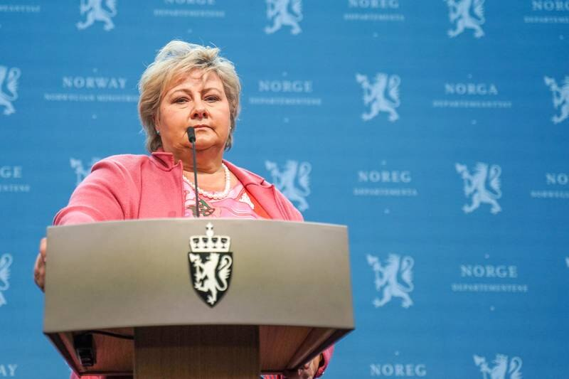 Statsminister Erna Solberg (H) orienterte fredag om gjenåpningen av samfunnet. Foto: Ali Zare / NTB