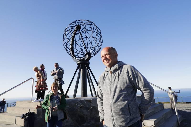 Sp-leder Trygve Slagsvold Vedum på plass på Nordkapplatået. Foto: Berit Roald / NTB