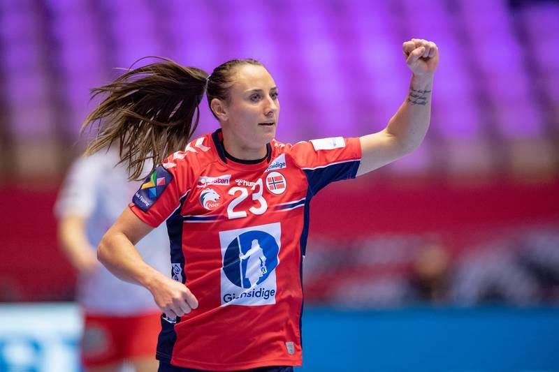 Camilla Herrem of Norway celebrates in the EHF Euro 2020 European Women's Semi-finals Match between Norway and Denmark at Jyske Bank Boxen in Herning in Denmark, Friday, Dec. 18, 2020. (Bo Amstrup/Ritzau Scanpix via AP)