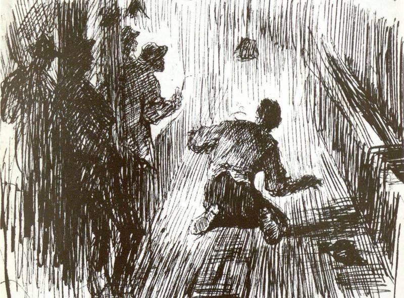 Erik Werenskiolds tegning av kjeglespiller i aksjon. Kan hende et eksempel på «fortvivlede Legems-Bøininger» med «de snurrigste Krampe- og Mavepineformer».
