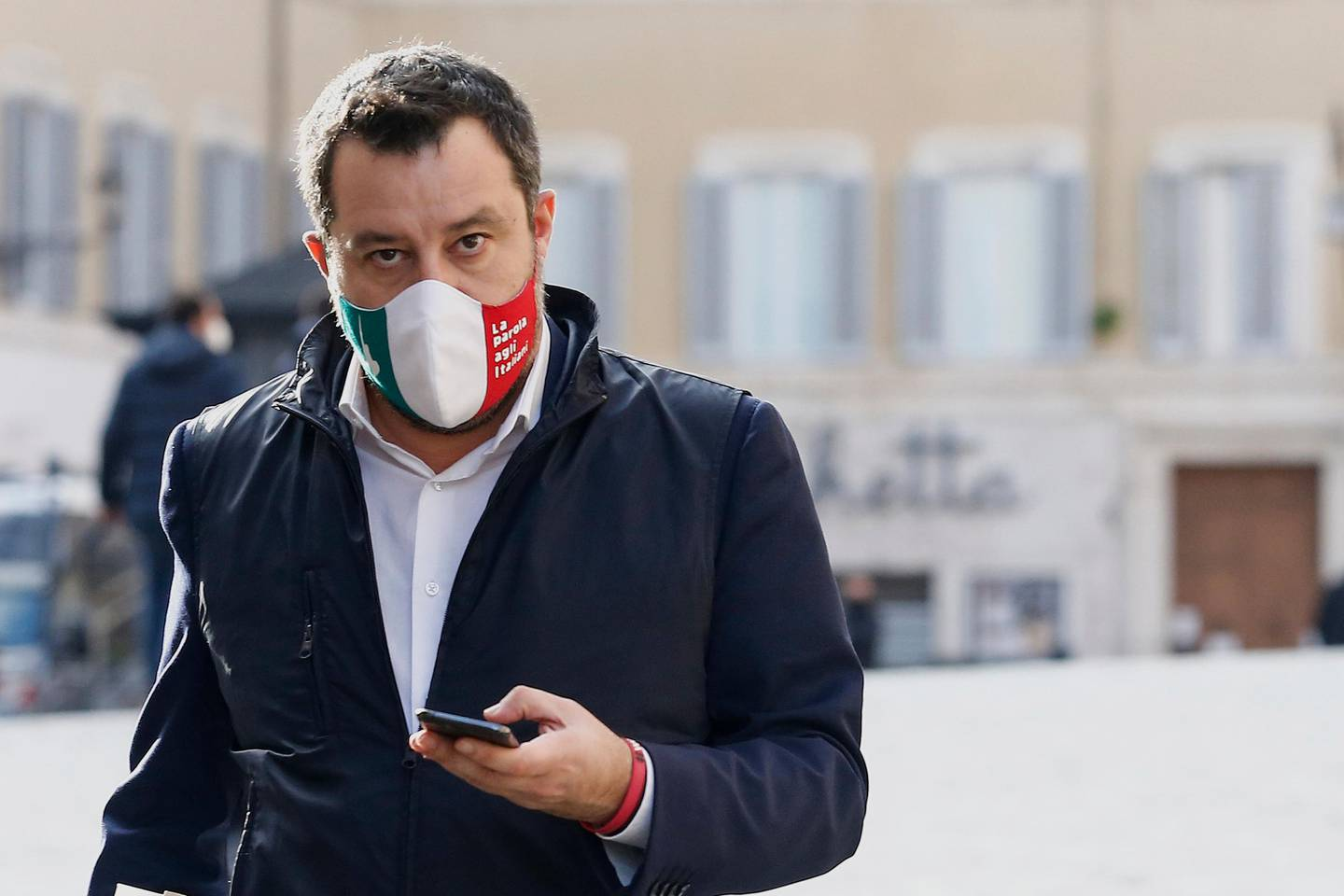 Leader of The League party, Matteo Salvini, leaves after a center-right coalition's meeting in Rome, Wednesday, Feb. 3, 3021. Former European Central Bank President Mario Draghi has agreed to try to form a non-political government to steer Italy through the coronavirus pandemic. (Cecilia Fabiano/LaPresse via AP)