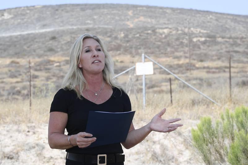 Den republikanske kongressrepresentanten Marjorie Taylor Greene avbildet ved en tidligere anledning. Foto: Denis Poroy / AP / NTB