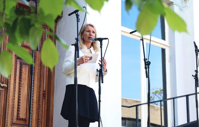 Ordfører Christine Sagen Helgø (H) talte under gjenåpningen av Stavanger museum torsdag. Foto: Ingvild Wathne Johnsen