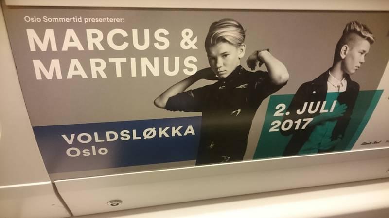 Marcus & Martinus-konserten på Voldsløkka 2. juli ble mandag annonsert med plakater på t-banen i Oslo