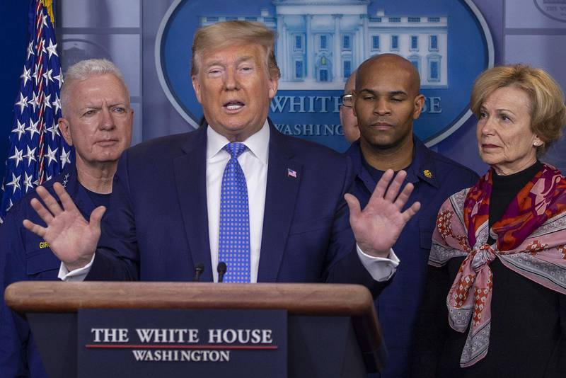 WASHINGTON, DC - MARCH 15: U.S. President Donald Trump speaks to the media in the press briefing room at the White House on March 15, 2020 in Washington, DC. The United States has surpassed 3,000 confirmed cases of the coronavirus, and the death toll climbed to at least 61, with 25 of the deaths associated with the Life Care Center in Kirkland, Washington.   Tasos Katopodis/Getty Images/AFP == FOR NEWSPAPERS, INTERNET, TELCOS & TELEVISION USE ONLY ==