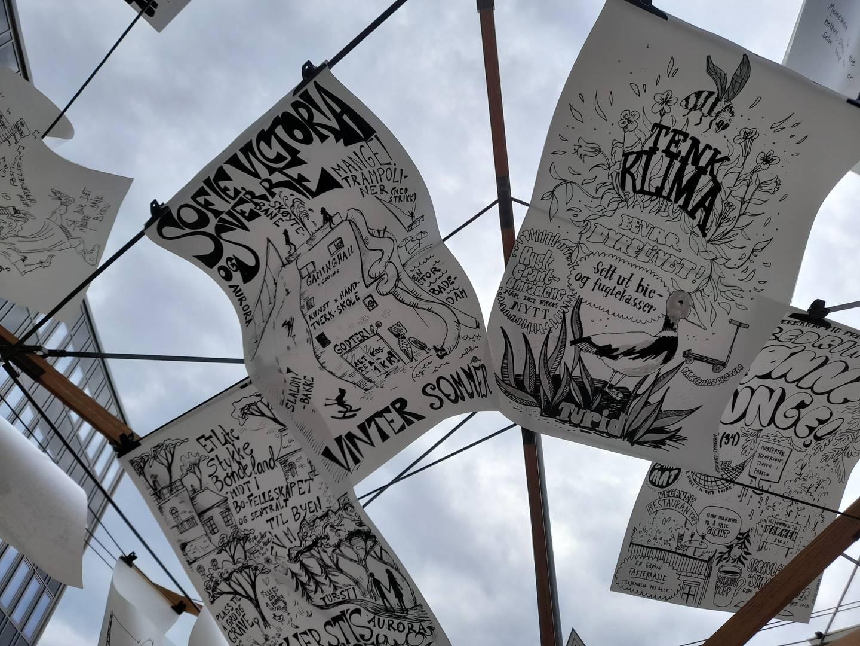 Plakater med tegninger av det folk ønsker seg i byen