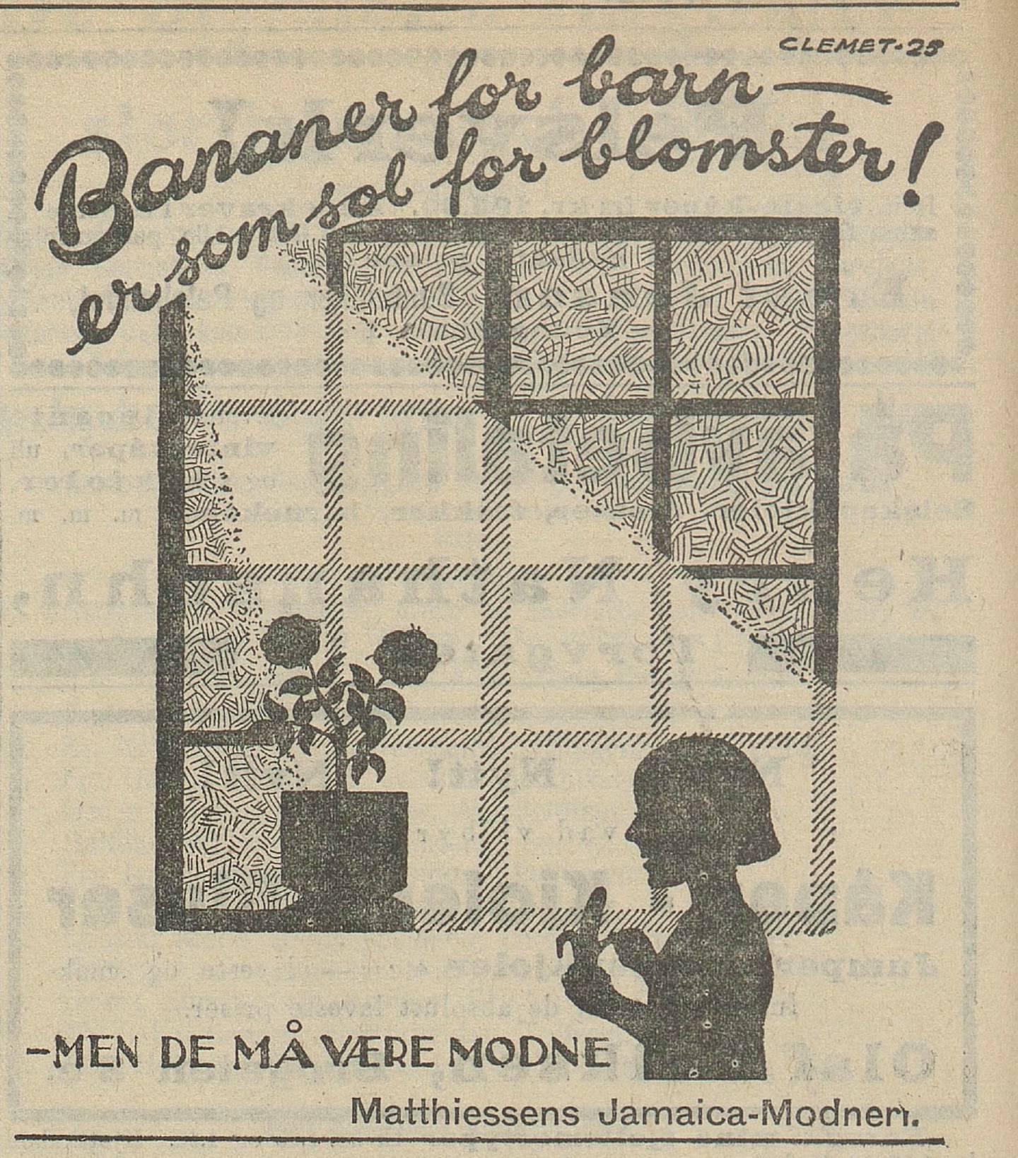 Annonsene skulle få flere til å spise banan:   «Bananer for barn – er som sol for blomster!».