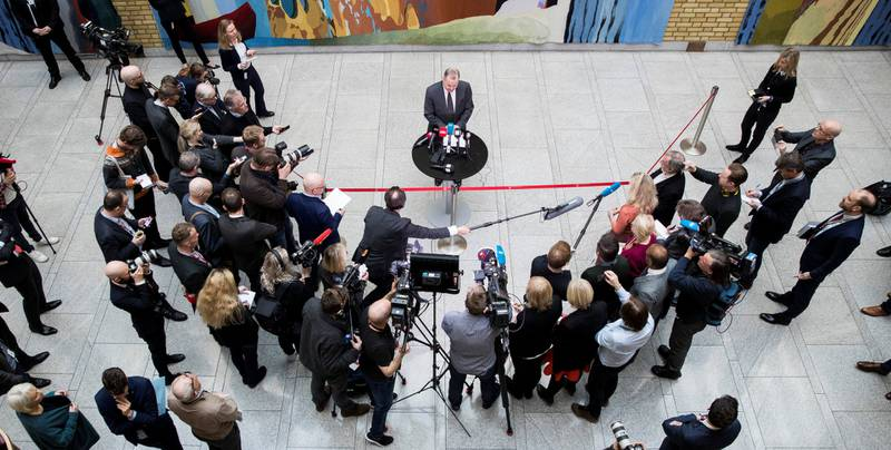 Stortingspresident Olemic Thommessen møtte pressen etter møtet med de parlamentariske lederne og finanskomiteen. Bakgrunnen er byggeprosjektet på Stortinget som har blitt langt dyrere enn antatt.
