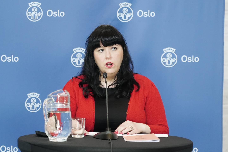 Byråd for næring og eierskap Victoria Marie Evensen orienterer om koronasituasjonen og mulige lettelser på restriksjonene i Oslo. Foto: Terje Pedersen / NTB