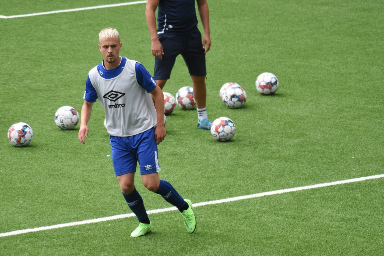 Albin Mörfelt i aksjon på treningsfeltet. Foto: