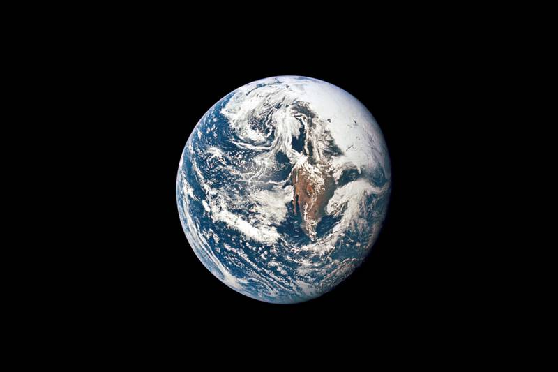 Bilde av jorda tatt fra Apollo 10 i 1969.