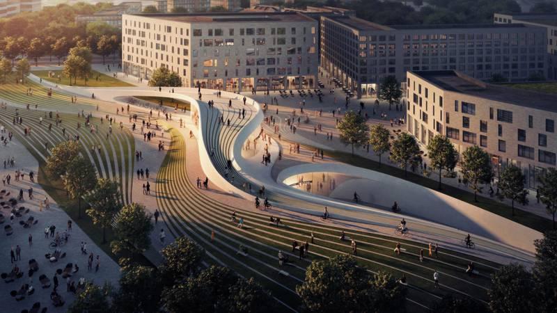 Slik kan nye Fornebu T-banestasjon se ut om noen år dersom den nye Fornebubanen blir en realitet.