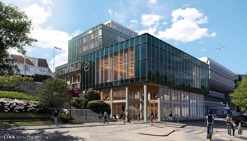 Illustrasjon av hvordan det nye rådhuset i Stavanger vil se ut. Det nye rådhuset skal være klart til å tas i bruk for ansatte og innbyggere i løpet av høsten 2024.